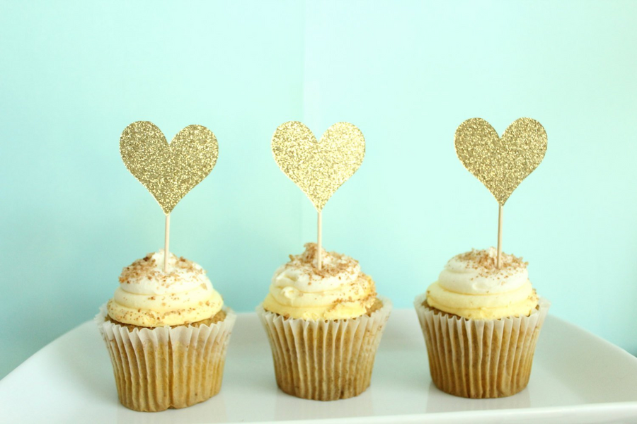 Heart Cupcake Topper | Set of 12