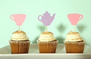 Tea Party Cupcake Toppers | Set of 12