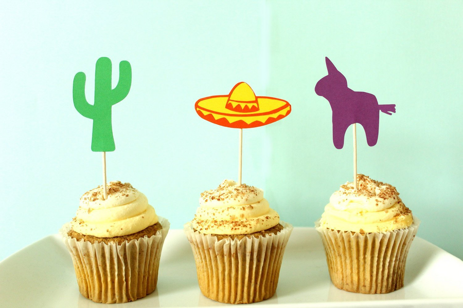 Fiesta Inspired Cupcake Toppers | Cactus, Sombrero, Pinata