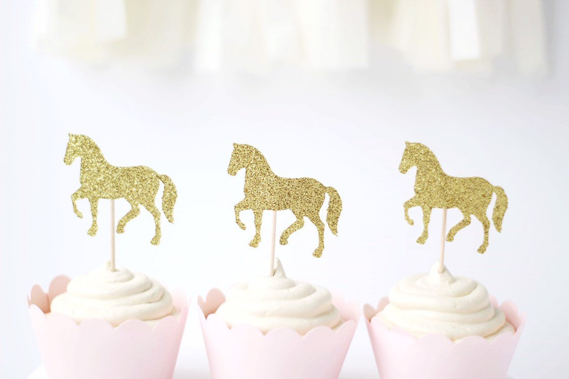 Horse cupcake toppers glitter set of 12