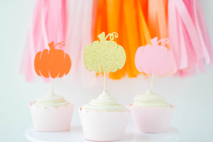 Colorful Pumpkin Cupcake Toppers | Set of 12