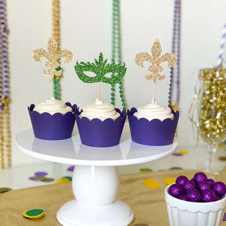 Mardis Gras Cupcake Toppers | Set of 12