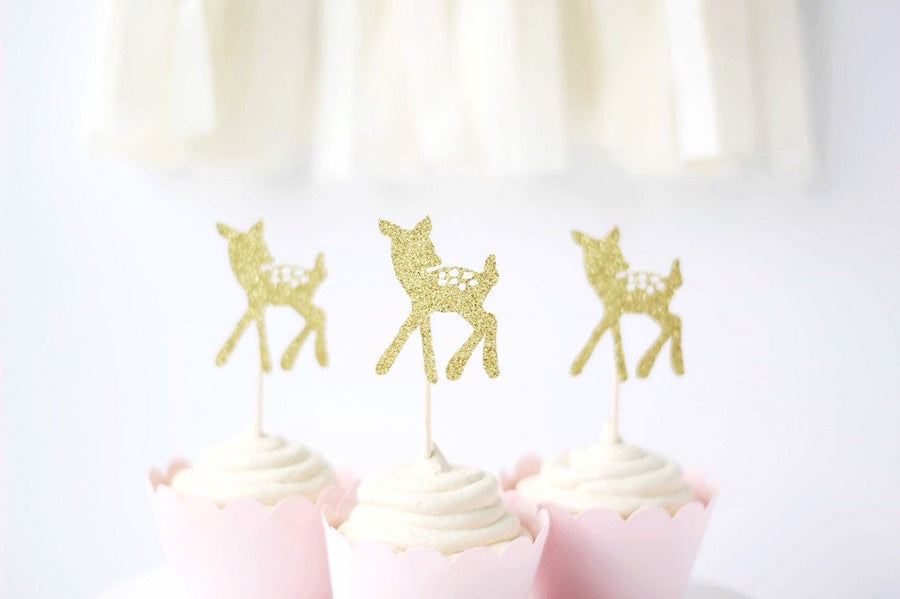 Sparkly Glitter Gold Deer Fawn Cupcake Toppers