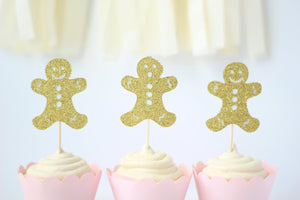 Gingerbread Cupcake Toppers | Set of 12