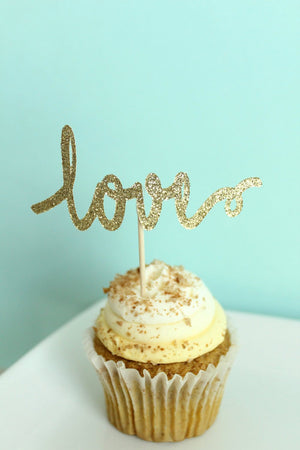 """Love"" Cupcake Toppers 