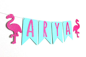 Personalized Name or Phrase Flamingo Banner
