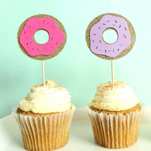 Sprinkled Donut Cupcake Toppers | Set of 12