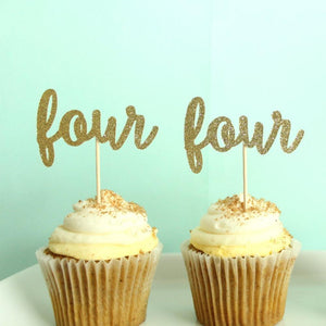"""Four"" Birthday Cupcake Toppers 