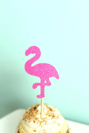Let's Flamingle Pink Flamingo Cupcake Toppers | Set of 12