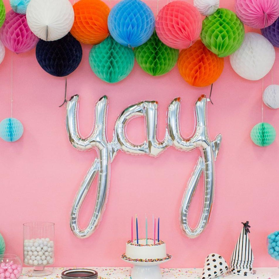 """Yay"" Silver Mylar Balloon"
