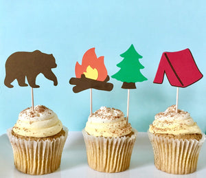 Camping Party Cupcake Toppers | Set of 12