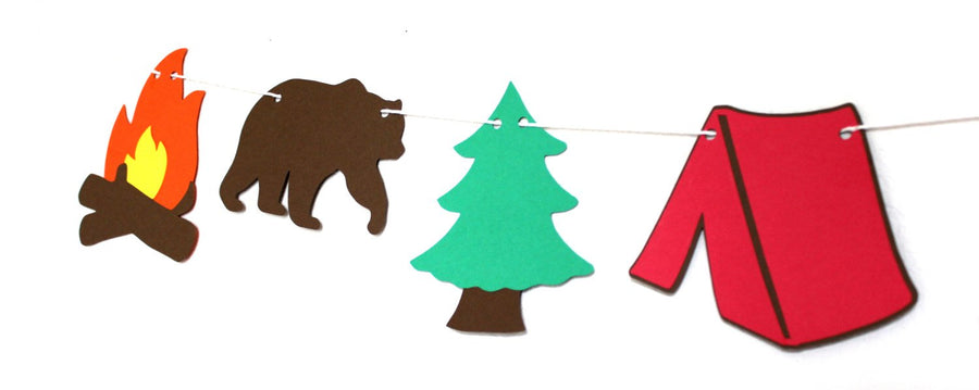 Camping Party Banner Decor | Bears, Trees, Campfires, Tents