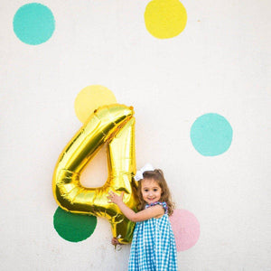 "34"" Giant Number ""4"" Mylar Balloon in Gold, Silver, or Rose Gold"