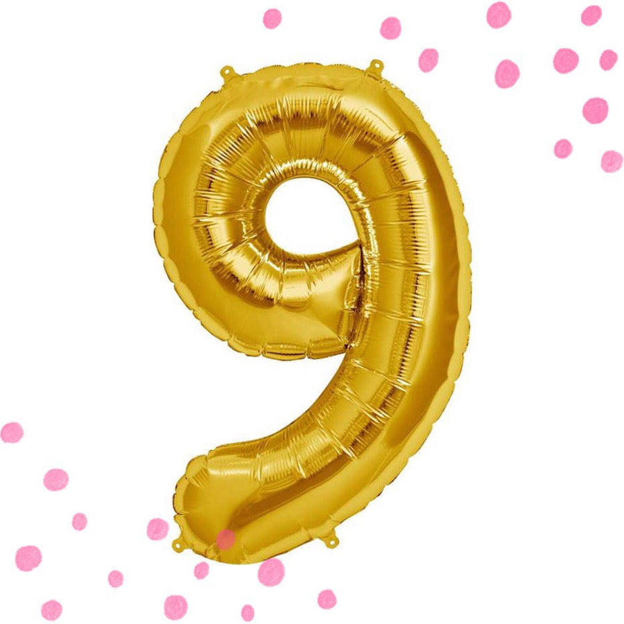 "34"" Number 9 Gold, Rose Gold or Silver Mylar Balloon"