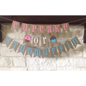 "Gender Reveal Banner ""Cupcake or Stud Muffin"""