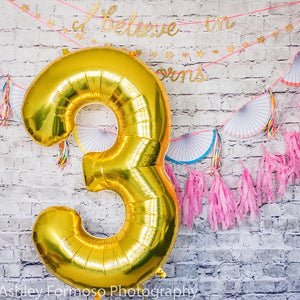 "34"" Number 3 Gold, Rose Gold or Silver Mylar Balloon"