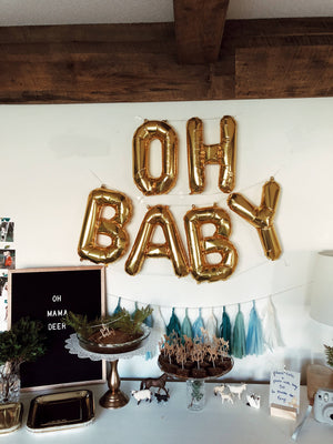"""Oh Baby"" Mylar Letter Balloons in Gold, Rose Gold or Silver"