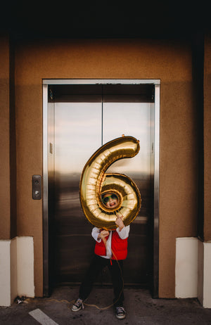 "34"" Number 6 Gold, Rose Gold or Silver Mylar Balloon"