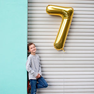 "34"" Number 7 Gold, Rose Gold or Silver Mylar Balloon"