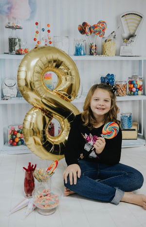 "34"" Number 8 Gold, Rose Gold or Silver Mylar Balloon"