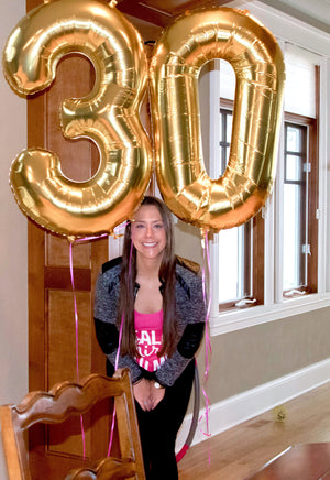 "34"" Gold, Silver or Rose Gold Number Balloons"