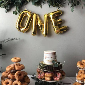 """One"" Mylar Letter Balloons in Gold, Rose Gold or Silver"