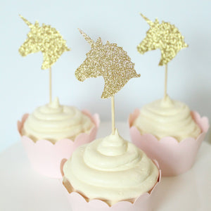 Glitter Unicorn Cupcake Toppers | Set of 12