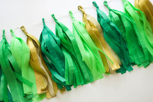 Green Tissue Tassel Garland