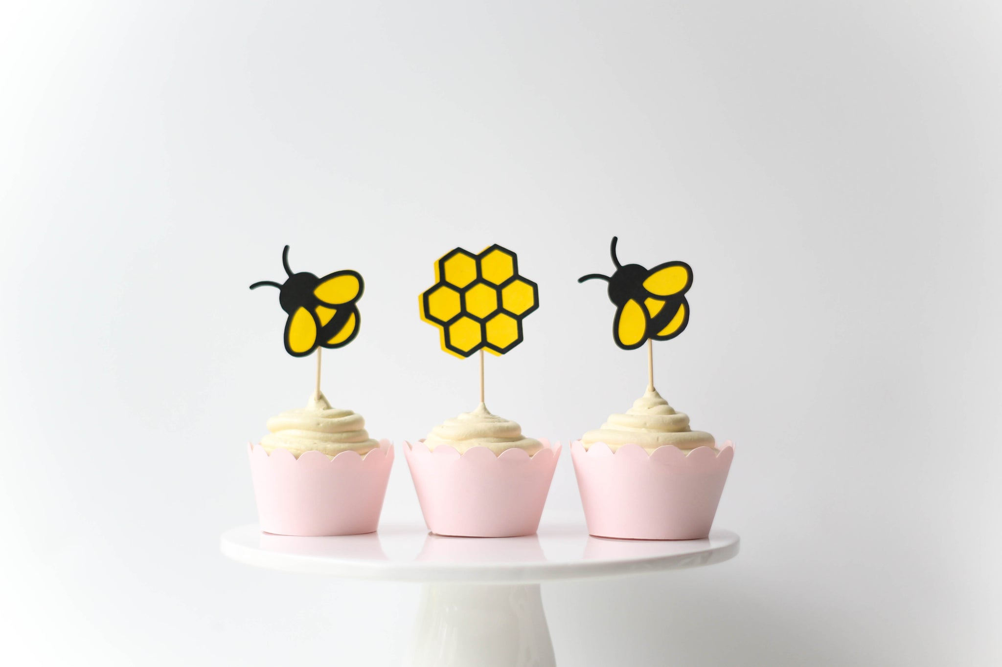 Bumble Bee Cupcake Toppers | Set of 12 - Glamfetti