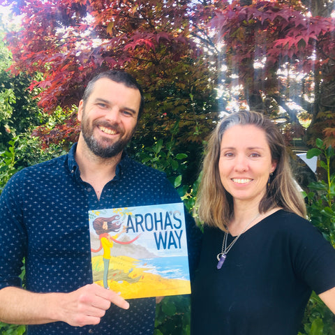 Craig Phillips & Bex Lipp with their book, Aroha's Way