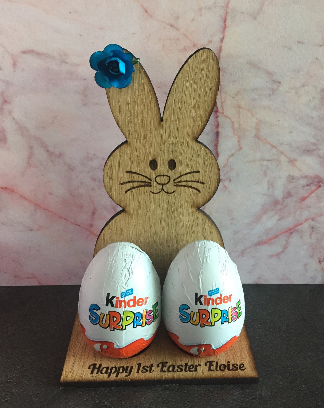 Oak veneer personalised bunny for chocolates eggs - Laser LLama Designs Ltd
