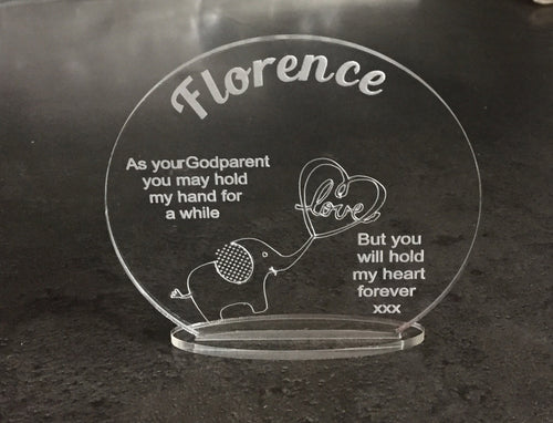 Acrylic personalised godparent keepsake christening - Laser LLama Designs Ltd