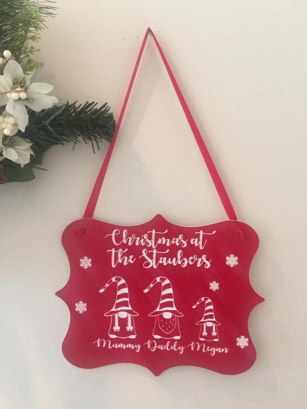 Acrylic Christmas plaque with gnomes - Laser LLama Designs Ltd