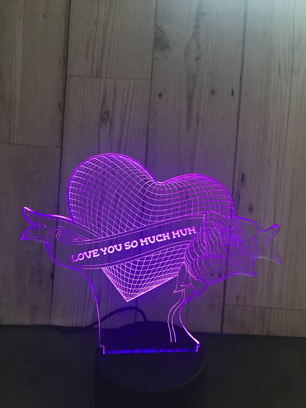 LED light up 3D rose & heart mum, mothers day  display. 9 Colour options with remote - Laser LLama Designs Ltd