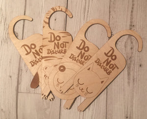 Wooden do not disturb door hanger 4 designs - Laser LLama Designs Ltd