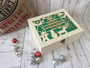 Personalised Wooden Christmas Eve Box with acrylic backing - Laser LLama Designs Ltd