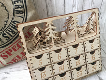 Load image into Gallery viewer, Wooden Christmas advent calendar with santa and snowman on top, 24 individually numbered drawers - Laser LLama Designs Ltd