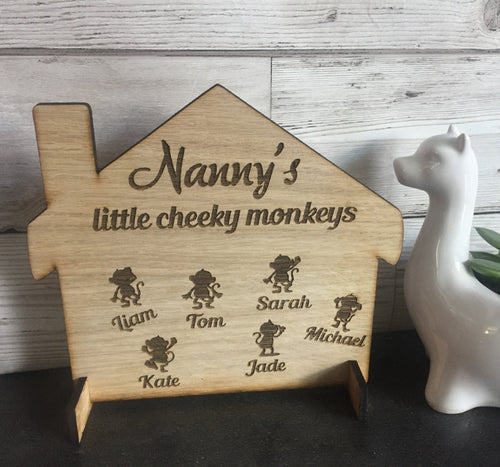 Oak veneer freestanding house personalised ,monkeys - Laser LLama Designs Ltd