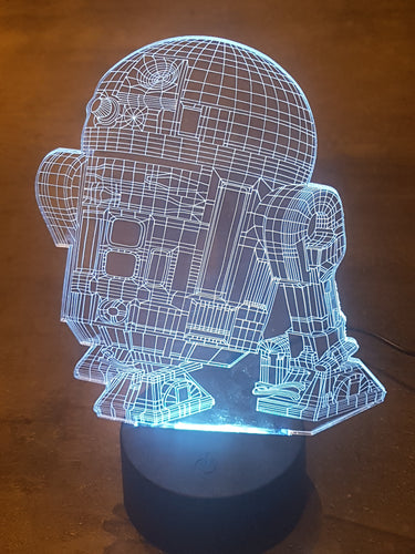 LED light up R2D2 Display- 9 Colour options with remote! - Laser LLama Designs Ltd