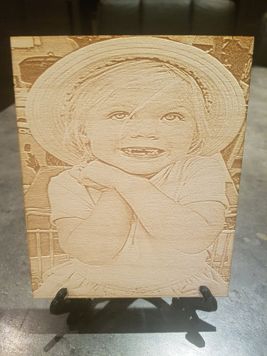 Your photo Laser engraved onto A grade Birch plywood - various sizes- Stand included - Laser LLama Designs Ltd