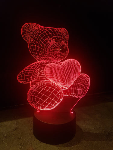 LED light up BEAR display ,9 Colour options with remote! - Laser LLama Designs Ltd