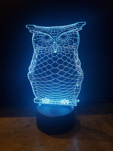 LED light up OWL display ,9 Colour options with remote! - Laser LLama Designs Ltd