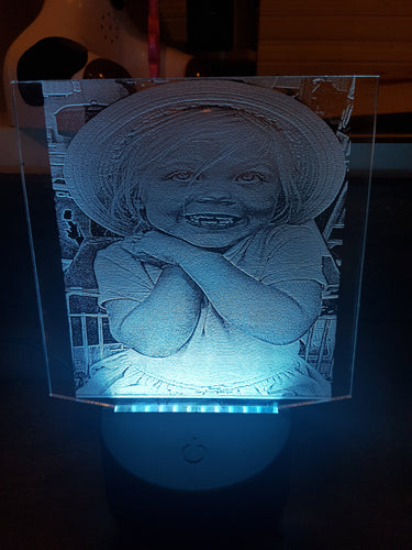 Photo laser engraved onto Acrylic with led multi colour changing base - Laser LLama Designs Ltd