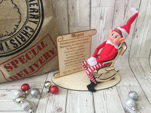 Personalised naughty Elf on the chair ( Elf Not included) - Laser LLama Designs Ltd