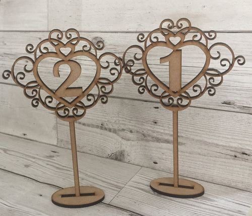 Wedding table numbers - Laser LLama Designs Ltd