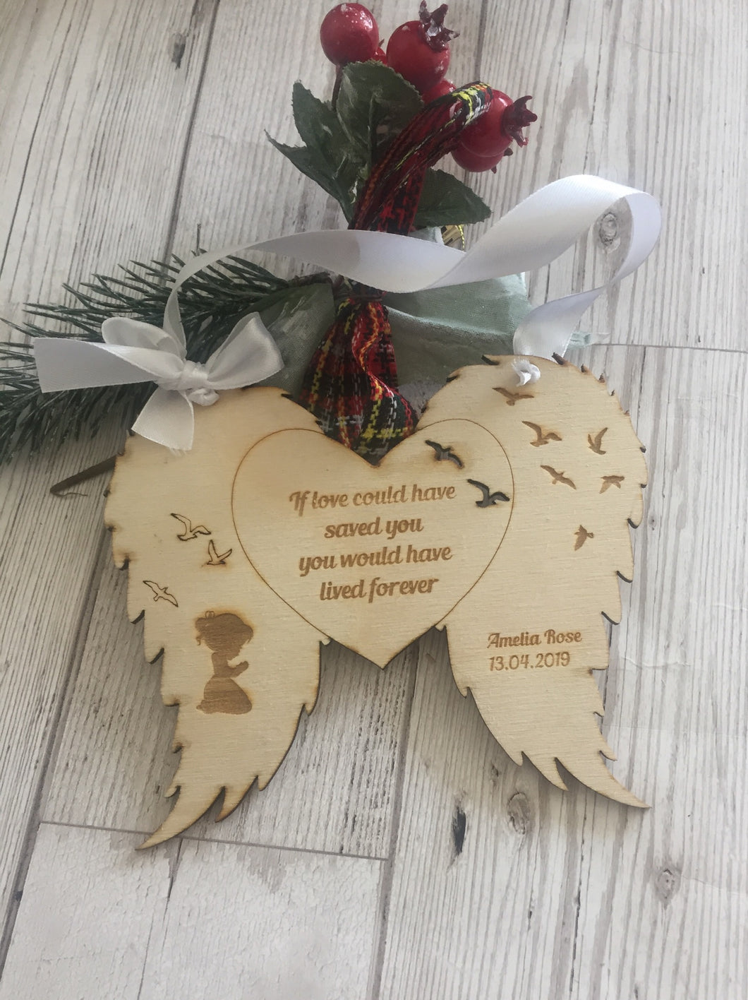 Personalised hanging wings bauble - Laser LLama Designs Ltd