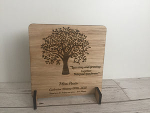 Oak veneer personalised freestanding plaque tree - Laser LLama Designs Ltd