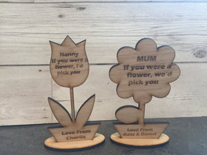 Oak veneer personalised flower mothers day decorations - Laser LLama Designs Ltd