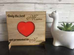 Oak veneer freestiang plaque with acrylic red heart - Laser LLama Designs Ltd