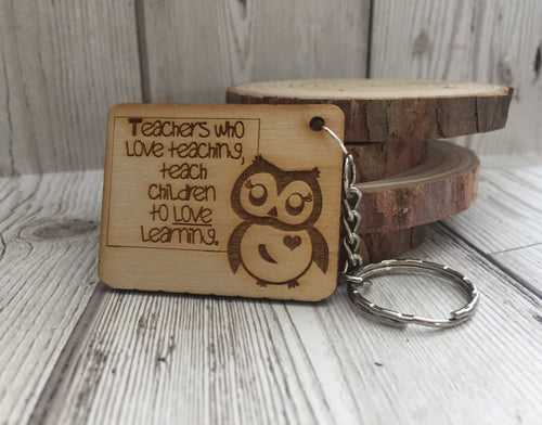 Wooden owl teacher keyring - Laser LLama Designs Ltd